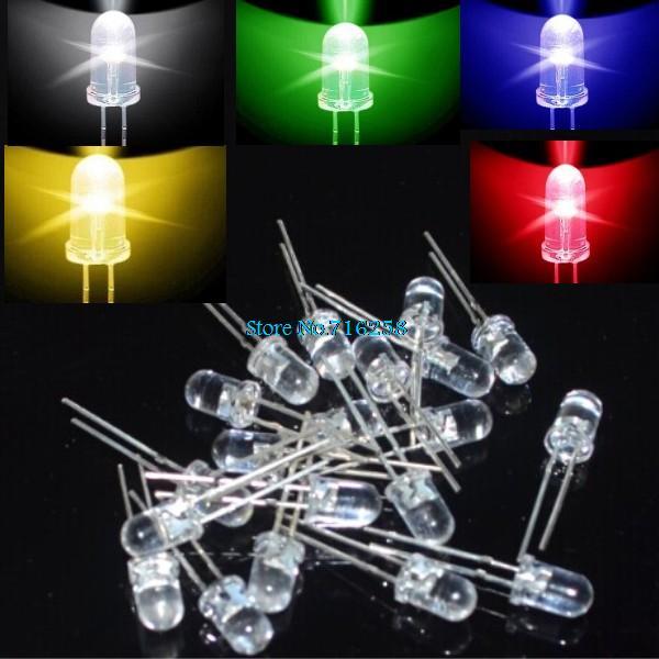 Набор светодиодов 100 шт. красный/зеленый/синий/белый/желтый Ultra Bright 5 мм круглые F5 LED