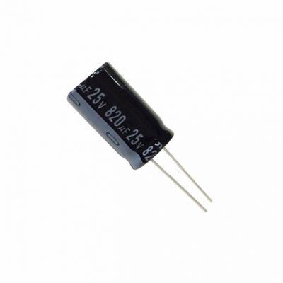 Конденсатор электролитический 820 мкФ 25 В 105C 10x20 мм